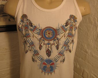 Size L- (43) ** 1980s Native American Tank Top Shirt (Single Sided)