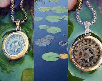 Spining Gear Wheel. Sacred Geometry case. Seed of life pendant.