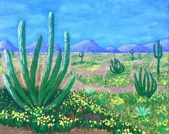 Cactus Painting, Arizona Painting, Arizona Desert, Original Art, Acrylic Painting, Arizona Souvenir, Gift Idea, 8x8in, MelidasArt