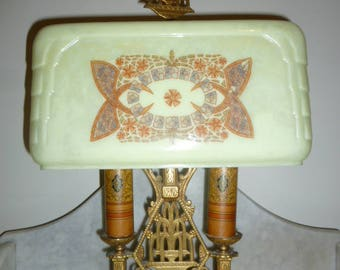 Art Deco period bronze bouillote lamp with custard glass shade c. 1920s