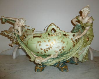 Large Art Nouveau polychrome Austrian porcelain figural cherubs centerpiece bowl Japan 1900