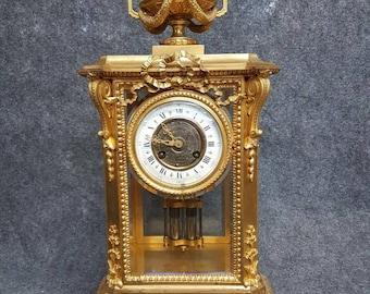 Antique Large French Empire gilt bronze Mercury Pendulum mantle clock 19 Cent