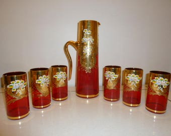 Art Deco period ruby red hand painted set carafe and glasses NOS circa 1930s
