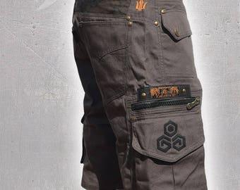 Men Short Pants Psy Trance Boho,Cargo Pants,Hipster,Tribal,Steampunk,Burning Man,Festival Pants,Pocket Pants,Brass Hard Wear,Gift For Men