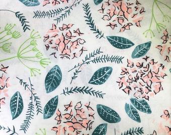 White cotton fabric with pink flowers.  Dear Stella.  Stella-SRR507