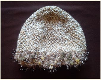 Beige Hat lined with wool hairy fantasy - 12 months
