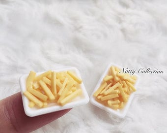 On Sale15% 2 Miniature French-fries,Miniature potato chips,Doll house Miniature,Miniature Food,Miniatures,Fries Potatoes,Chips,Miniature Pot