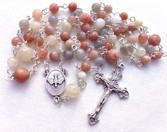 Catholic Rosary made with Natural Sunstone beads, Traditional Rosary beads, Five decade Rosary, Confirmation gift