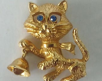 Vintage Avon Cat Brooch Blue Rhinestones Eyes  Bell Cat Brooch Gold Tone Avon Costume Jewelry Figural Cat Pin