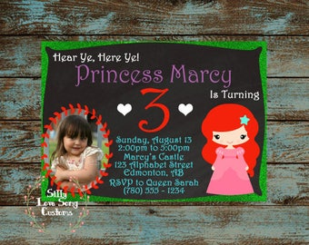 Little Mermaid Ariel Inspired Printable Birthday Invitations! 4x6 or 5x7 inches with Customized Text  Perfect for Any Birthday!