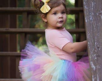 Sparkle Pastel Rainbow Tutu, Colorful Tutu, Birthday Tutu, Rainbow Party, Birthday Tutu, Dress up, Cake Smash Tutu, Unicorn Tutu