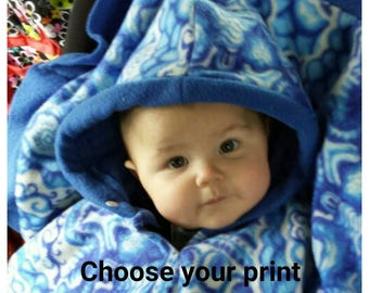 Poncho/Cape for car seat use: custom size and fabric; made to order