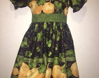 Girls Pumpkin Dress Peasant Dress Thanksgiving Pumpkin Patch Dress Outfit Border Print Boutique Dress Set Outfit! Girls Toddlers