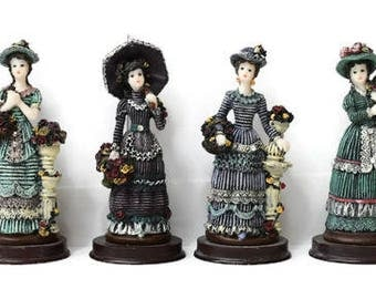 Vintage Victorian Ladies Figurines Resin on Wooden Bases Lot of 6 by Sabre Inc Roses Hats Dresses Bling Parasol 5""