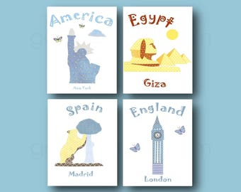 14,Nursery wall art,baby boy room decor,blue,yellow,USA,Egypt,Spain,England,tableau chambre bébé garçon