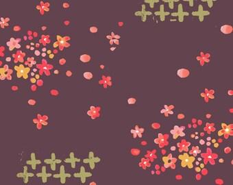 Scattered Petals Burgundy Wine, Kaiku 2 Collection by Monaluna Organic Fabrics 3061