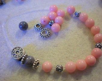 YOGA BRACELET KIT * pink coral Jade beads * 8 mm
