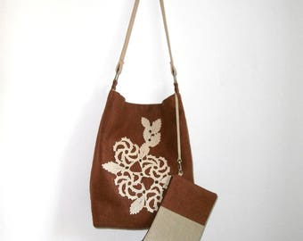Safari tote and clutch set - chocolate brown linen and vintage Romanian beige macramé doily, handmade shoulder bag, vintage lace hobo bag