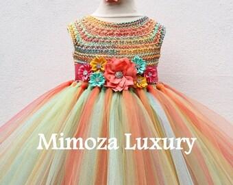 SALE Mint Coral Flower girl dress, mint coral tutu dress, hawaii bridesmaid dress, hawaii princess dress, tulle dress, hand knit tutu dress