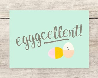Egggcellent Greeting Card, Easter Egg Card, Easter Cards