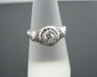 a518 Beautiful Vintage Diamond Ring & Side Roses 18k White Gold 1920's Size 6.25