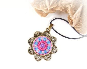 Mandala cabochon balance necklace, cheap jewel under 20 dollars, ethnic talisman locket, anniversary bestfriend gift, supernatural jewelry.
