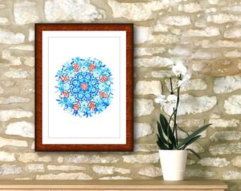 "Light blue mandala printable 7"" x 7"" geometric roundie, emotional art print, awareness spiritual yoga wall, cheap home decoration online."