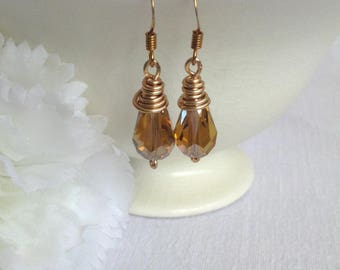 Amber Teardrop Crystal Earrings.   Sparkly Crystal Earrings