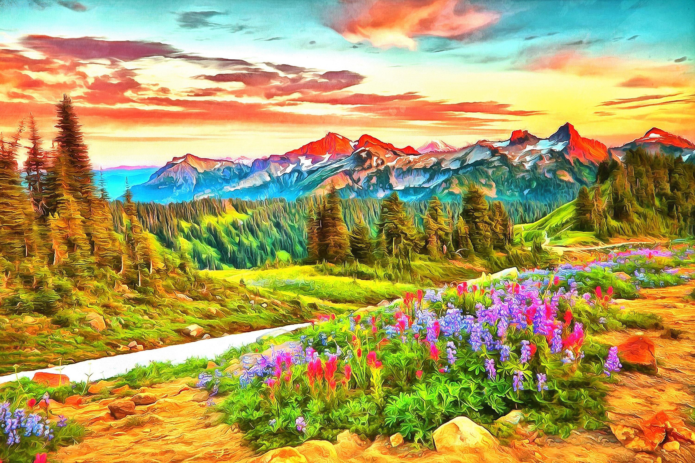 sunset mountain landscape painting. zoom sunset mountain landscape painting