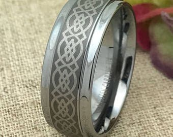 9mm Personalized Tungsten Wedding Band, Tungsten Ring, Custom Engraved Ring, Promise Ring for Him, Men's Wedding Band, Couples Ring