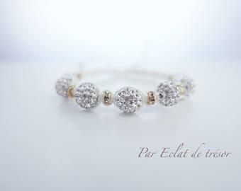 White Shamballa bracelet, Etincelle collection