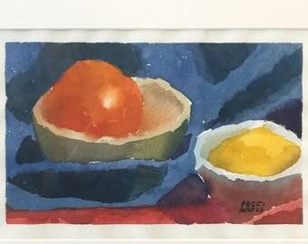 """1""""Orange and Lemon"""" Original Watercolor 5"""" x 8"""""""