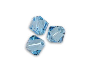 1 lot 50 Swarovski 3mm aquamarine Swarovski Crystal bicone beads