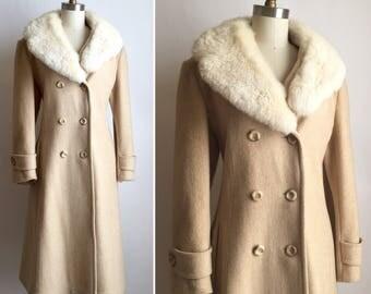 1970s fur collar coat M ~ vintage wool coat with rabbit fur collar