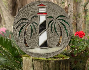 "Black & White Lighthouse Stepping Stone Big 18"" Diameter Made with Concrete and Stained Glass Perfect for Your Garden Patio or Backyard #806"