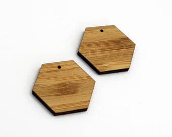 2 Hexagon Blank Beads : Bamboo