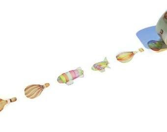 WASHI SAMPLE watercolor hot air balloon washi