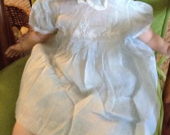Vintage Handmade Sheer Blue Baby Dress
