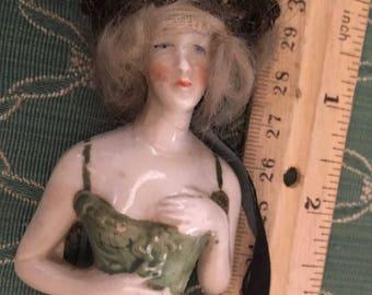 Very vintage half doll with hair