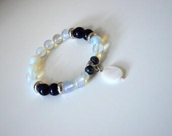 Opalite, blue sandstone bracelet.  Bohemian jewelry. Gemstone stretchy Statement bracelet. Opalite jewelry. Beaded boho bracelet.