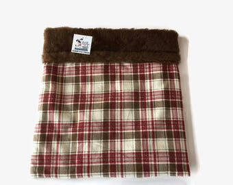 Small Chihuahua Bed, Burrow Bag, Cuddle Cup, Red Brown Plaid, Hedgehog Bed, Snuggle Sack, Rat Hut, Guinea Pig Bed, Hamster Bedding