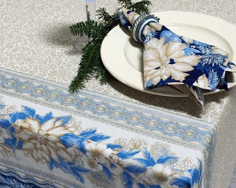 Christmas Tablecloth, Holiday Tablecloth, Rectangular Or Round Christmas  Tablecloth, Gold Blue And Silver