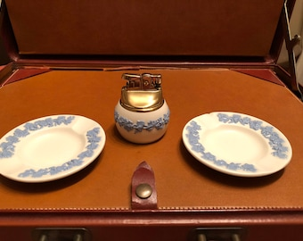 Wedgwood Lighter and 2 Ash Trays or Tea Light Holders