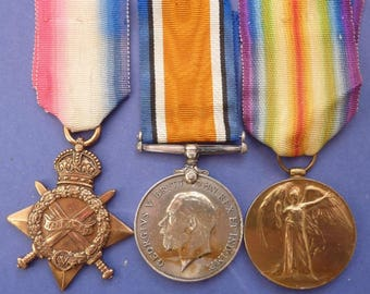 British WW1 Medal Group. 1915 Medal Trio To South Staffordshire Regiment Recipient.