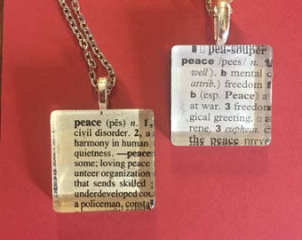 Peace - book page necklace
