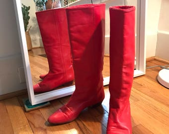 Rare 1980s Andrea Pfister Red Leather Knee High Boots Womens Size 7.5/8