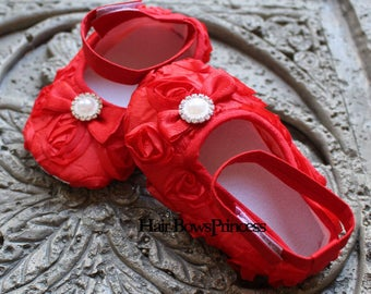 Baby Girl Red Satin Rosette Crib Shoes, Baby shoes, Ready to ship, Christmas shoes, Red baby shoes