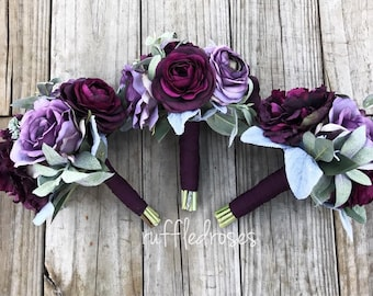 Boho Bouquet, Plum and Iris Bouquet, Succulent Bouquet, Wildflower Bouquet, Bridesmaid Bouquet