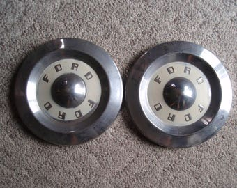 """Cool, Two 1950's 10.5"""" Ford Metal Hubcaps Collectible Retro For the Ford Lover a2613"""