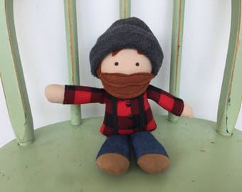 Lumberjack little boy rag doll, red and black buffalo plaid, perfect for imaginative play!
